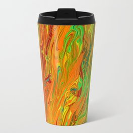 Orange and Green Neon Abstract Paint Travel Mug