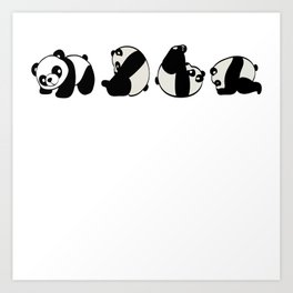 """A Cute Panda Tee For Animal Lovers Saying """"This Is How I Roll"""" T-shirt Design Black And White  Art Print"""