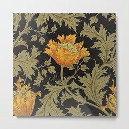 William Morris Yellow Flowers and Laurel Floral Textile Pattern Metal Print