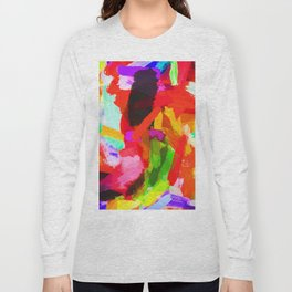 red orange blue green purple painting texture abstract background Long Sleeve T-shirt