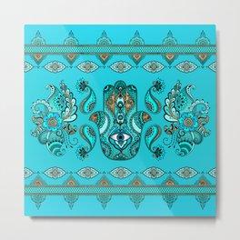Hamsa Hand -Hand of Fatima  Blues and Gold Metal Print