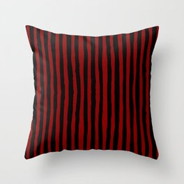 Black and Red Stripes Throw Pillow