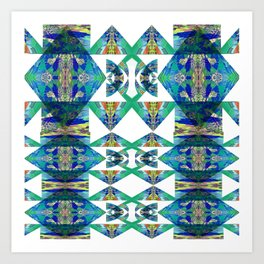 Diamond Geometric Intricate Beauty Green & Blue Art Print