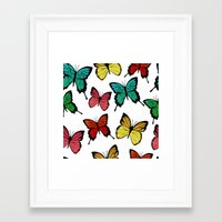 butterflies Framed Art Prints featuring Butterflies by Julia Badeeva