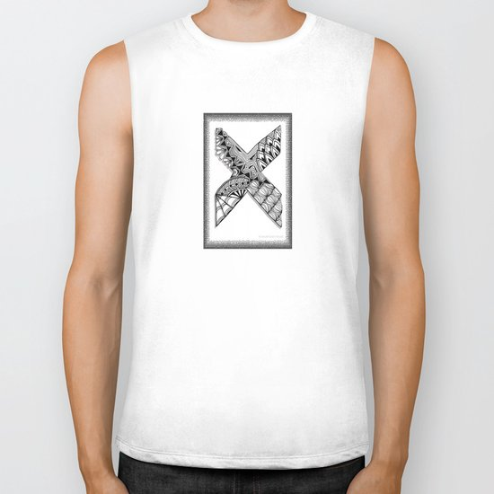 Zentangle X Monogram Alphabet Illustration Biker Tank