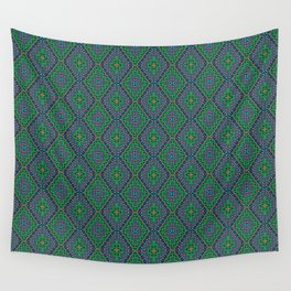 New Delhi #3  Floral Diamonds in Green and Purple Wall Tapestry
