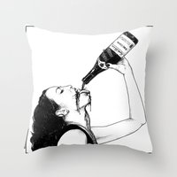 apollonia Throw Pillows featuring asc 560 - La bouteille (My friend Aloxe) by From Apollonia with Love