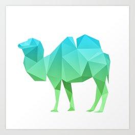 Geometrical camel in blue and green Art Print