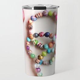 Red tassel charm beaded bracelets by Quest Stones Travel Mug