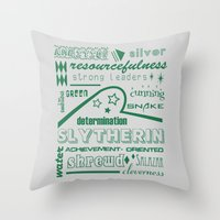 slytherin Throw Pillows featuring Slytherin by husavendaczek
