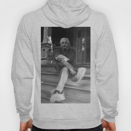 Albert Einstein in Fuzzy Slippers Classic Black and White Photograph Hoody
