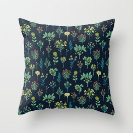Navy Blue, Mint Green, Turquoise, Coral & Lime Floral Pattern Throw Pillow