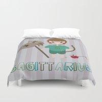 sagittarius Duvet Covers featuring Sagittarius by Esther Ilustra