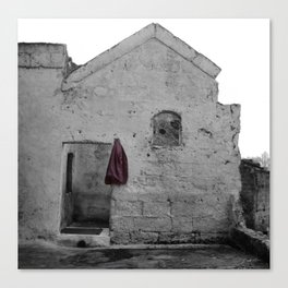 Sassi di Matera with red jacket Canvas Print