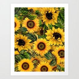Vintage & Shabby Chic - Noon Sunflowers Garden Art Print