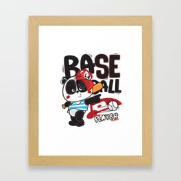 Panda Baseball - Cute Happy Sports Panda Bear KIDS Framed Art Print