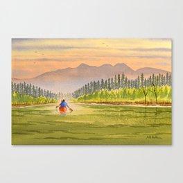 Canoeing The Yukon River Canvas Print