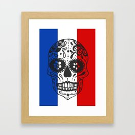 Mexican Skull With French Flag Framed Art Print
