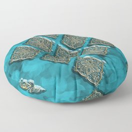 Blues Swirls and Gold Embossed Oriental Designs Floor Pillow