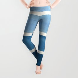 Green Blue Minimalist Watercolor Mid Century Staggered Stripes Rothko Color Block Geometric Art Leggings