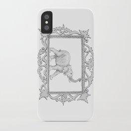 grey frame with elephant iPhone Case