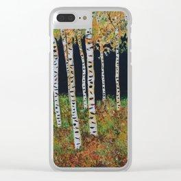 Aspen Birch Trees, Landscape Painting, Autumn Colors, Rustic Home Decor Clear iPhone Case