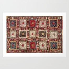 Azeri Zili  Antique South Caucasus Azerbaijan Tribal Rug Art Print