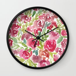 Maya's Garden Watercolor Painting Wall Clock