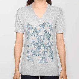 Vintage blue white bohemian elegant floral Unisex V-Neck