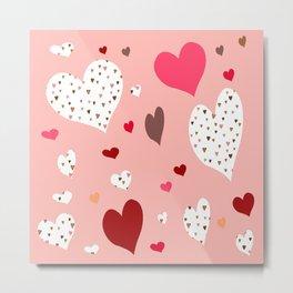 Flying Hearts pink burgundy Metal Print