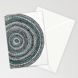 Mandala with a touch of pastel green Stationery Cards
