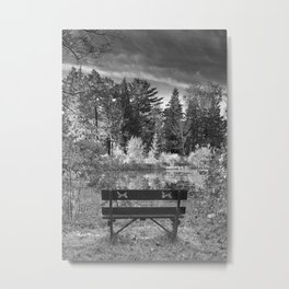 Park Bench and Pond Landscape in Infrared Black and White Metal Print