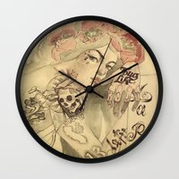 mucha Wall Clocks featuring mucha chicano by paolo de jesus