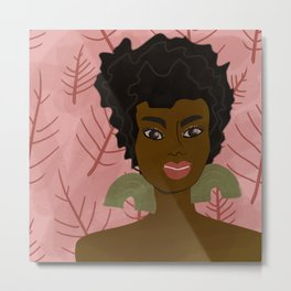 AsHaley on pink with winter leaves Metal Print