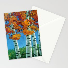 Poplars in autumn Stationery Cards