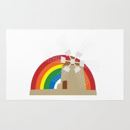 Windmill at a rainbow background Rug