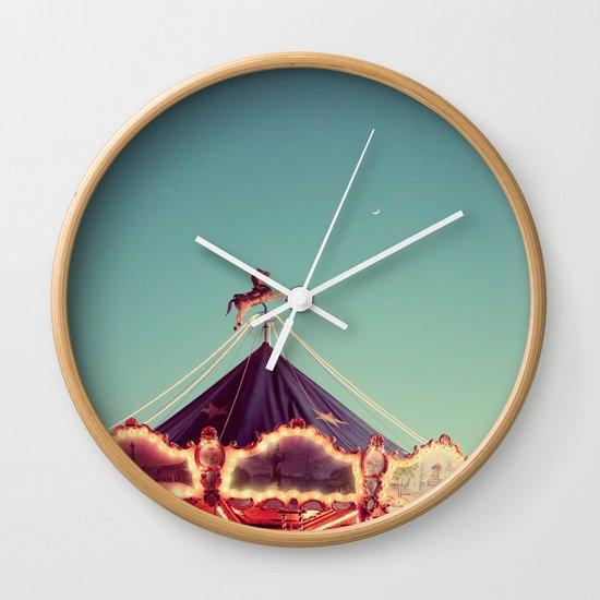 Crescent Moon Over Paris #2 Wall Clock