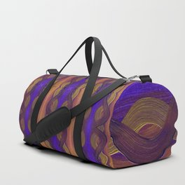 Golden Violet Autumn Waves Vertical Pattern Duffle Bag