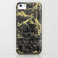 Marble - Glittery Gold Marble on Black Design Slim Case iPhone 5c