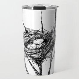 Bird Nest Ink Drawing Travel Mug