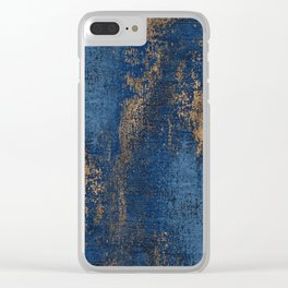 NAVY BLUE AND GOLD PATTERN Clear iPhone Case