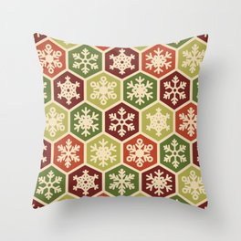 Classic Christmas Snowflake Red and Green Pattern Throw Pillow