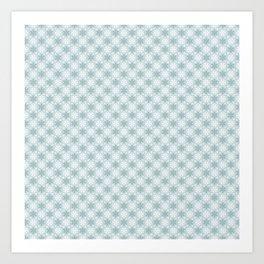 Aqua Green Snowflake Pattern Art Print