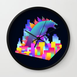 Neon city Godzilla Wall Clock