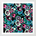 Abstract black and pink , turquoise polka dot pattern . by fuzzyfox85