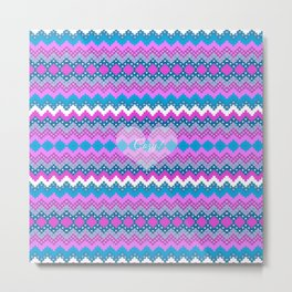 Winter chevron in teal and pink cozy heart Metal Print