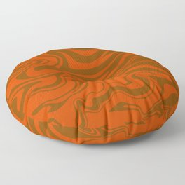 Abstract Modern Liquid Swirl in Burnt Orange, Melting Marbled Brick, Copper, Clay and Ochre Color Floor Pillow