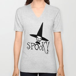 Spooky Witch Girl, Halloween Design Unisex V-Neck