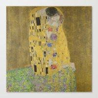 gustav klimt Canvas Prints featuring The Kiss - Gustav Klimt by Elegant Chaos Gallery