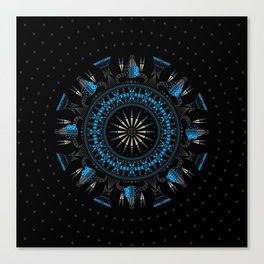 Buffalo Skull and Feathers (Blue) Canvas Print